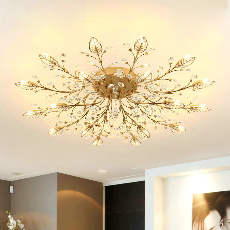 Chandelier Modern Crystal Decoration Chandeliers Ceiling For Living Room Bedroom Dining Room G9 Black Gold Iron