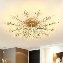 Lustre de cristal moderna decoração lustres teto para sala estar quarto sala jantar g9 preto/ouro ferro luminária