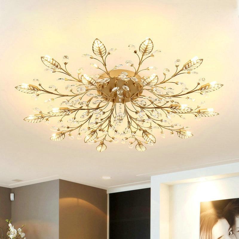 Lustre moderne cristal décoration lustres plafond pour salon chambre salle à manger G9 noir/or fer luminaire