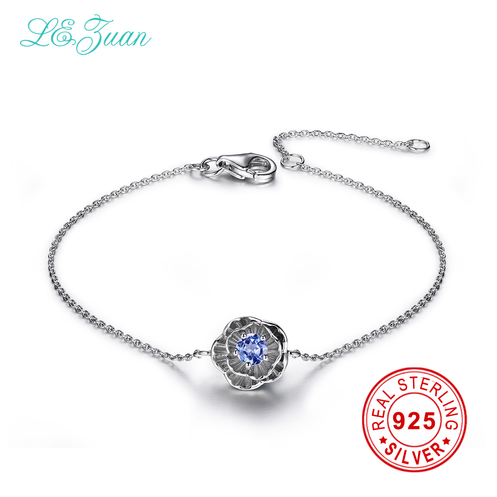 Izuan 925 sterling silver jewelry bracelet 02ct natural tanzanite izuan 925 sterling silver jewelry bracelet 02ct natural tanzanite lotus flower bracelets for women fine jewelry christmas gift in bracelets bangles from izmirmasajfo