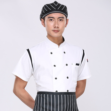 Summer Short-sleeved Chef service Hotel working wear Restaurant work clothes Tooling uniform Chef Jackets 2 color