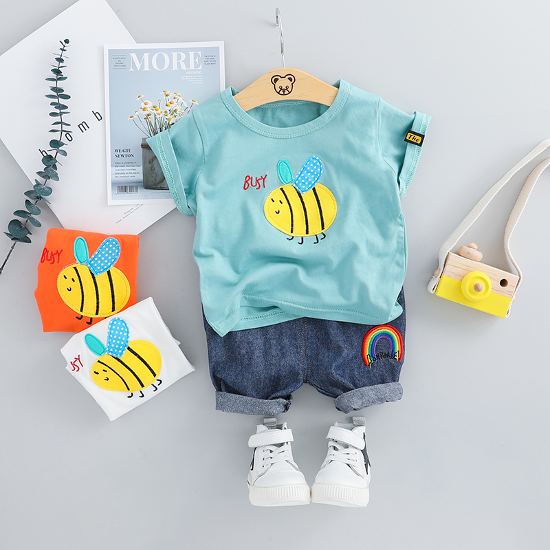 2019 Summer Baby Boys Girls Short Clothing Sets Infant Toddler Clothes Suits Bee T Shirt Shorts Kids Children Casual Suit2019 Summer Baby Boys Girls Short Clothing Sets Infant Toddler Clothes Suits Bee T Shirt Shorts Kids Children Casual Suit