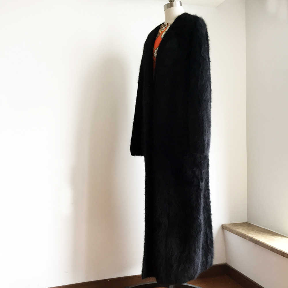 Трикотажные натуральная норка кашемир X длинное пальто Мода натуральный мех норка кашемир длинная куртка C мехом леди свитер норки тяжелые кардиганы KFP968