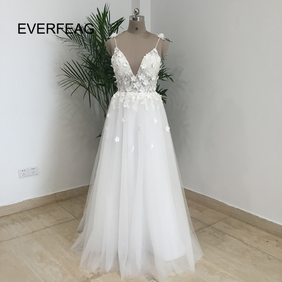 Spaghetti Straps Vintage Boho Backless White Tulle Beach Wedding Dress