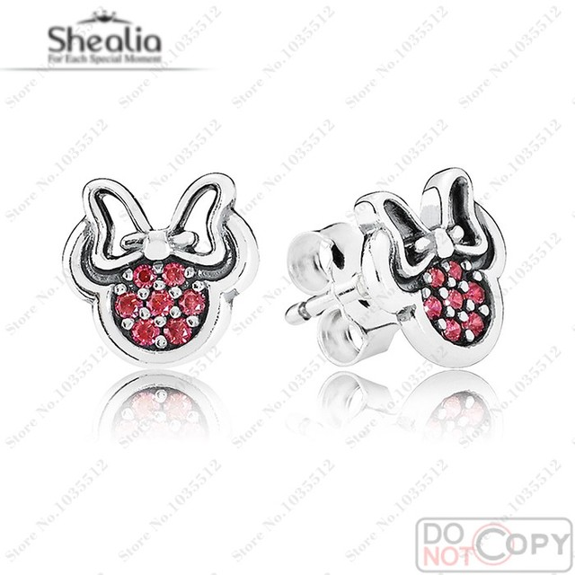 Authentic 925 Sterling Silver Red CZ Minnie Stud Earrings For Women 2016 Spring Cartoon Earrings European Brand Style Jewelry