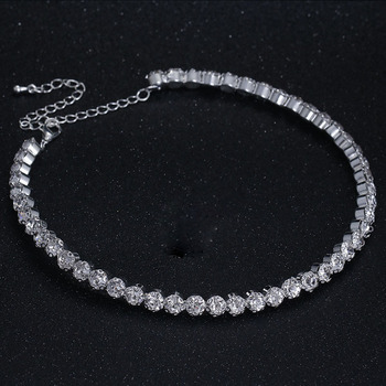 BLIJERY Fashion Diamante Crystal Rhinestone Choker Necklace for Women Silver Color Chokers Bridal Wedding Jewelry Femme Collier 2