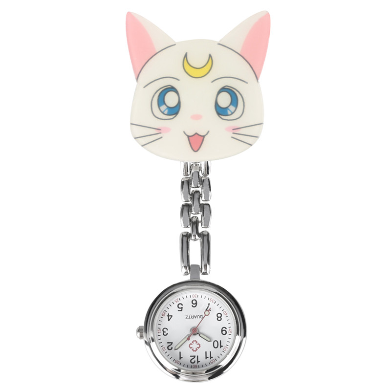 Reloj Mujer Cartoon Leopard Cat Ornament Nurse Watch For Women Quartz Pocket Watch Retro Luminous Function Pendant Watch