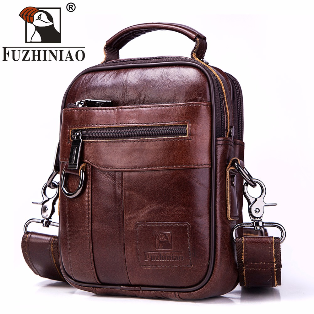 FUZHINIAO Men Bag New Genuine Leather Men Shoulder Bags Handbag High Quality Messenger Bag Business Briefcase Men's Travel Bags fashion men bags business briefcase handbag pu leather multi style luxury shoulder messenger travel bag high quality men s bag