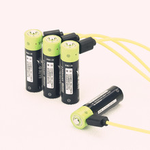 Cncool NEW battery ! 4pcs ZNTER 1.5V AA 1250MAH li-polymer lithium li-ion rechargeable with USB charging line