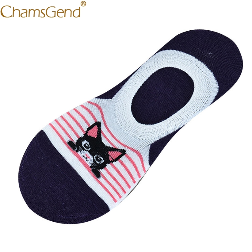 Chamsgend Socks Woman Cute Cat Sock Slipper Short Slicone Gel Socks Women Cotton Meia 71214