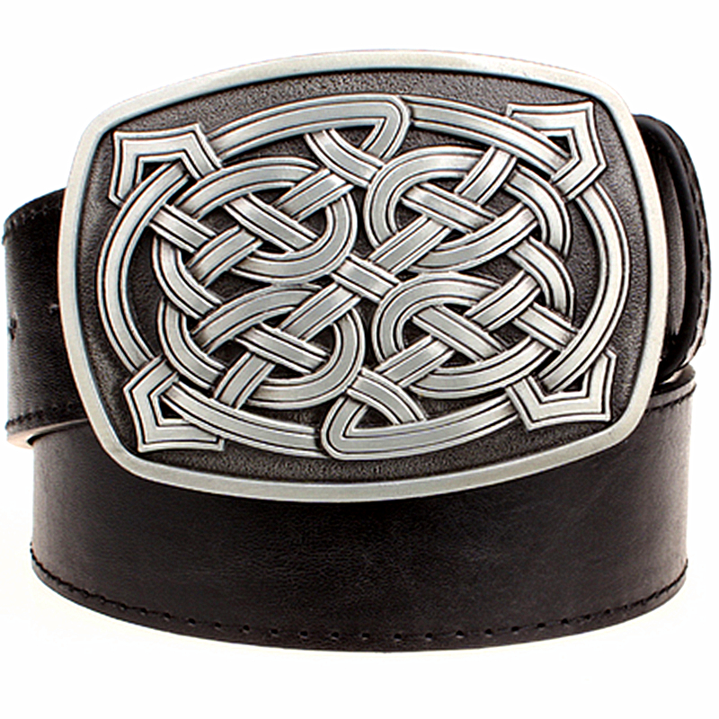 2018 Fashion element women's leather belt Weave stripe pattern casual belt Celtic Knot style Jeans strap metal big buckle belt