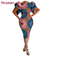 Hitarget 2017 African Ladies Short Sexy Dresses For Women Traditional Print Women Autumn Lotus Leaf Sleeve