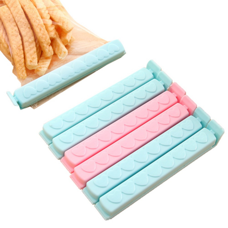 5Pcs/12Pcs/Packs Food Snack Storage Seal Sealing Bag Clips Sealer Clamp Solid Color Food Kitchen Tool Home Food Close Clip Seal