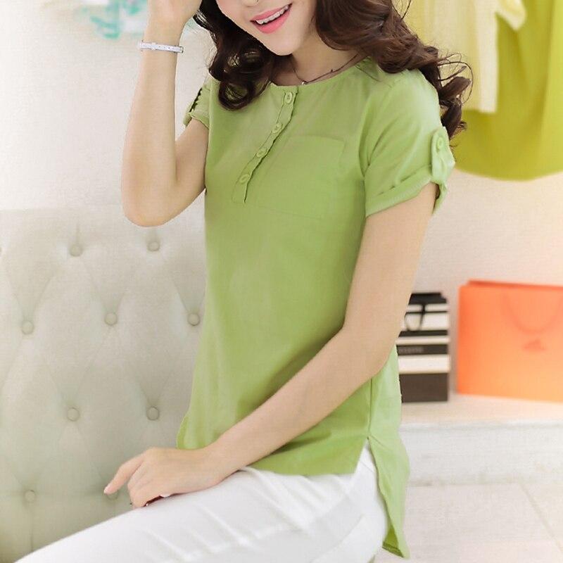 2019 Summer T Shirt Women Short Sleeve Cotton Linen Tshirt O-neck Ladies Tops Tee Green Casual Blusas Female Clothing Button H11