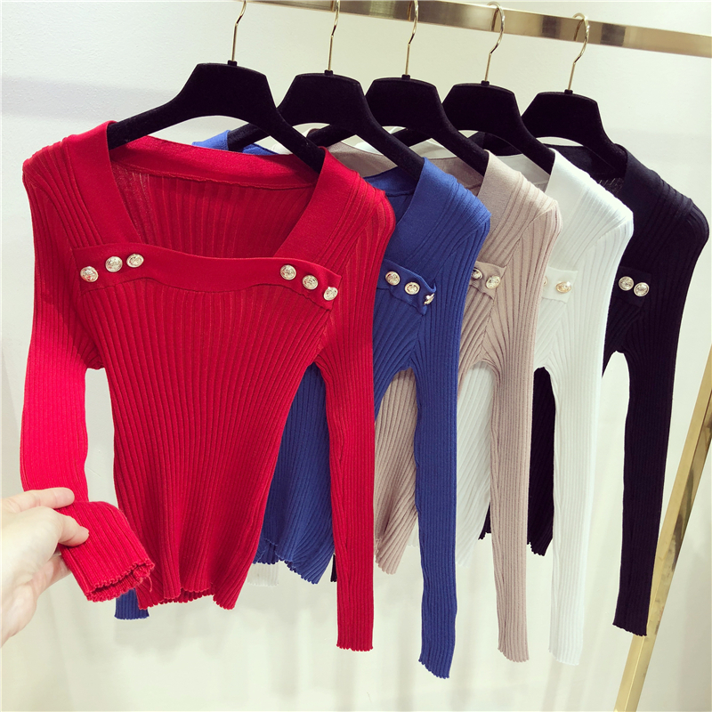 Buttons Pullovers Sweaters Women Knitted Slim Stretchy Pullover Sweater Female Full Sleeve Tops Clothing 9-1123