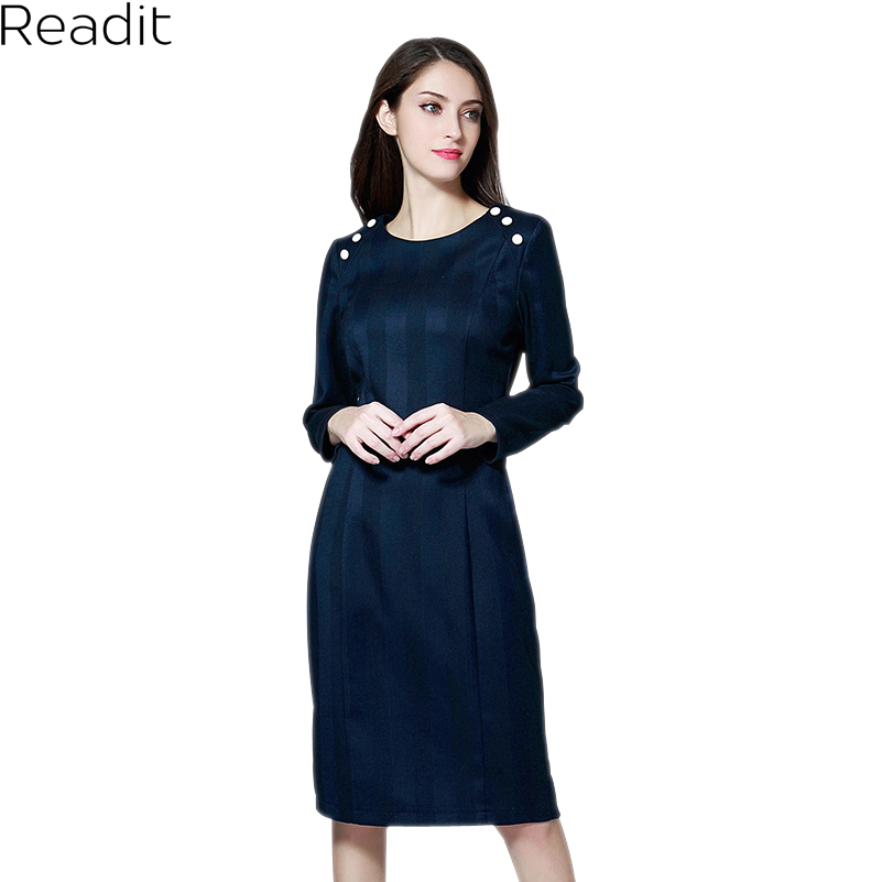 Readit OL Dress 2018 Spring Blue Dark Purple Stretched Work Pencil Dress Slim Long Sleeve Knee Length Elegant Dress D2842