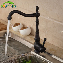 Free Shipping Black Color Kitchen Faucet Single Handle Single Hole Hot And Cold Mixer Tap Kitchen Sink Washing Tap