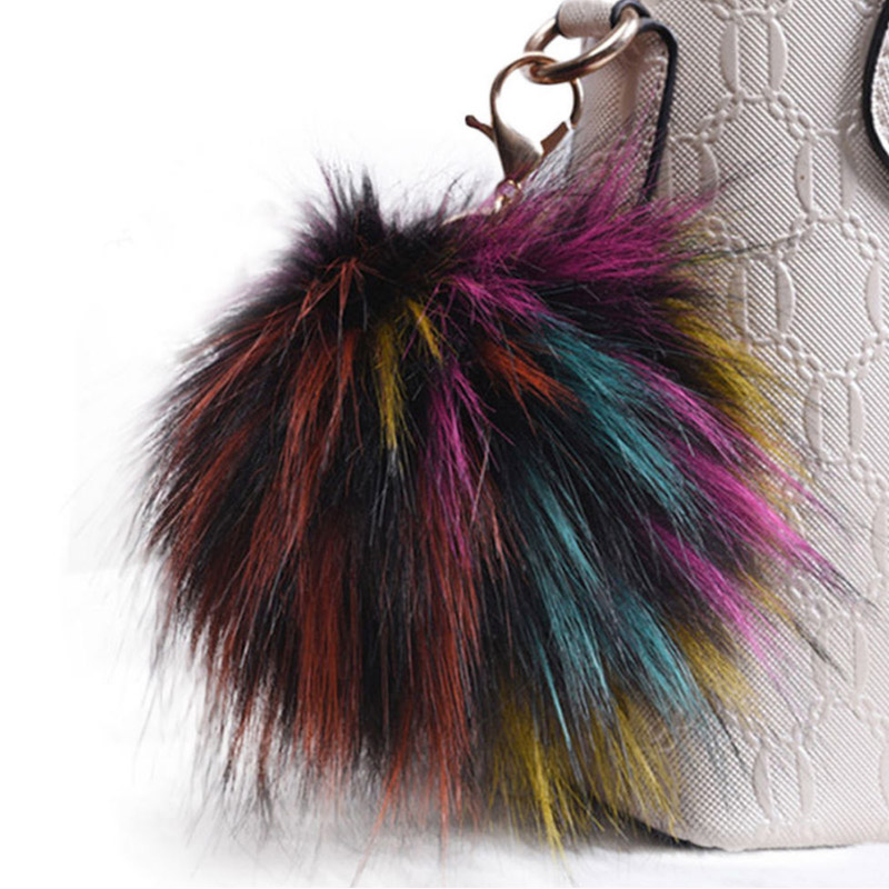 Fashion Women Charm Soft Keychain Artificial Rabbit Fur Cute Round Heart <font><b>Pom</b></font> <font><b>Pom</b></font> <font><b>Keyring</b></font> Car Bag Jewelry Accessories image