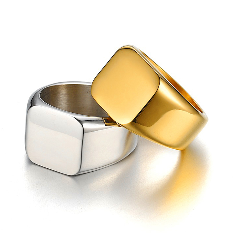Hip Hop Stainless Steel Square Ring Silve Gold Color Large Big Wide Finger Rings For Men Jewelry Anel New 2018 in Rings from Jewelry Accessories
