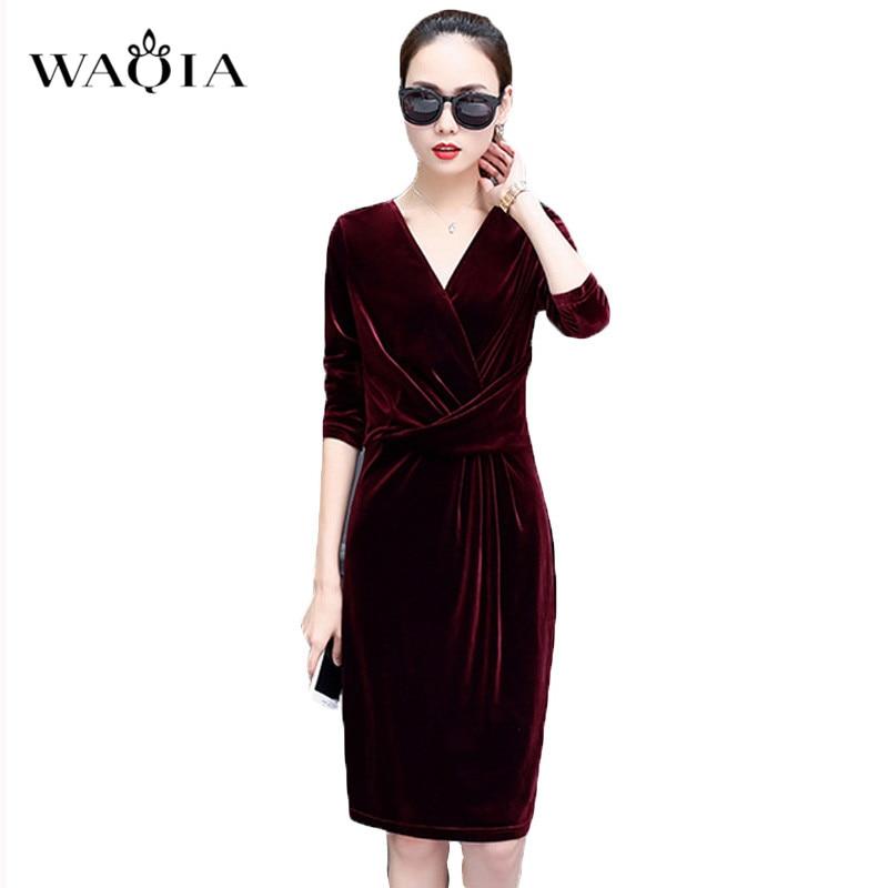 476f512f7c8 Detail Feedback Questions about WAQIA Plus Size 5XL Women Elegant Long  Sleeve Velvet Dress Sexy Deep V Neck Cross Bodycon Black Dresses Casual  Party Vestido ...