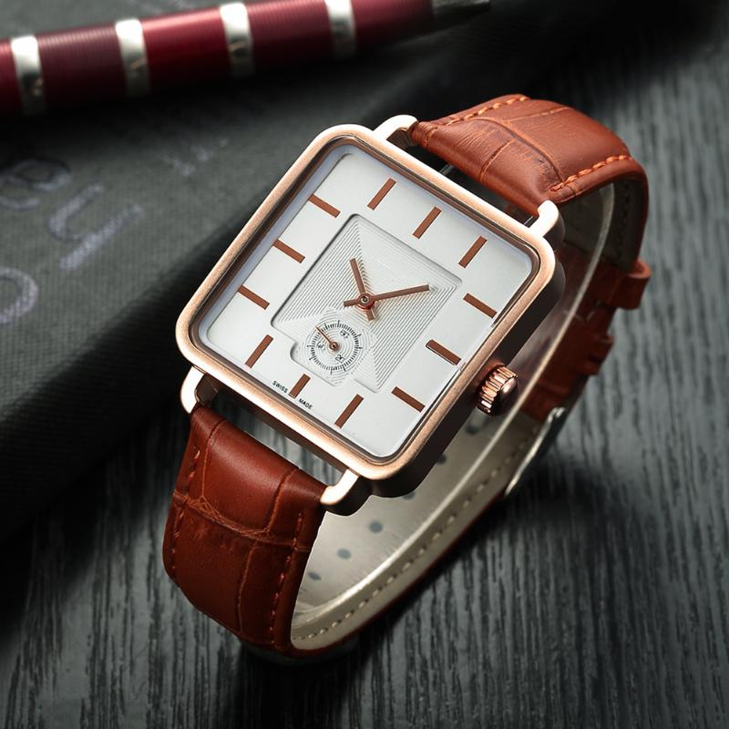 Brand Leather Strap Mens Watches Hours Casual Square Clock Japan Movement Quartz Men Watch Luxury Business Wrist Watch mens business dress quartz watch men mg orkina classic auto day date black leather japan quartz movement clock men wrist watches