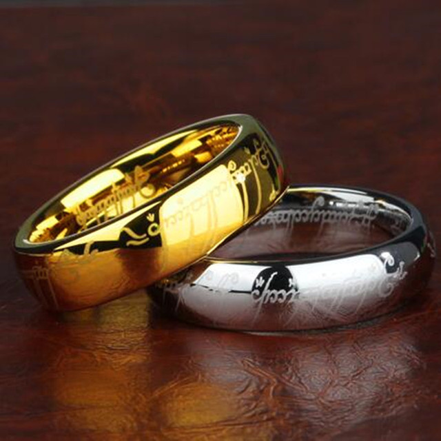 6mm4mm lord of the rings gold color tungsten ring of power for men women - Lord Of The Rings Wedding Ring