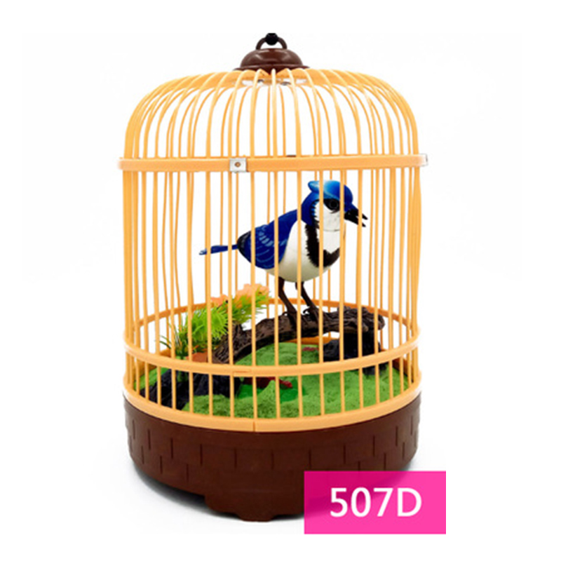 Sound Voice Control Electric Bird Pet Toy Electric Simulation Induction Bird Cage Birdcage Kids Toy Gift Garden Ornaments