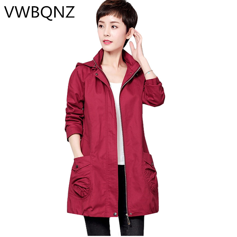 Middle-aged Women Spring Autumn Cotton Windbreaker Coat Slim Detachable Hooded Outerwear Plus size Female Casual   Trench   Coat 5XL