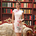 Female Chinese Traditional Dress Summer Vintage Cheongsam Qipao Elegant Short Printed Evening Party Dress Women Clothing 18