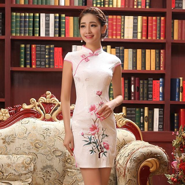 Female Chinese Traditional Dress Summer Vintage Cheongsam Qipao Elegant  Short Printed Evening Party Dress Women Clothing 18d7bb1b9665