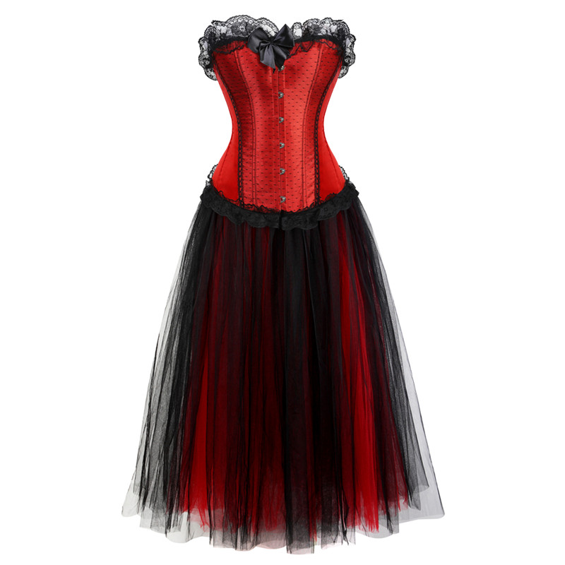 Sexy Lace Flower Corset Dresses For Women Plus Size Bustier With Skirt Long Tutu Set Plus Size Exotic Halloween Costumes Red 6XL