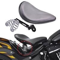 Black Leather Solo Seat 3 Spring Mounting Bracket Kit For Harley Harley Honda Yamaha Kawasaki Suzuki Sportster Bobber Chopper