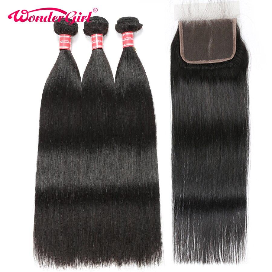Peruvian Hair 3 Bundles With Closure Straight Hair Bundles With Closure Remy Human Hair Bundles With