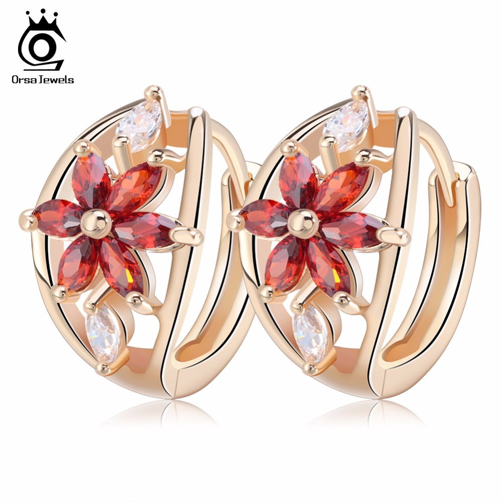 ORSA JEWELS Luxury Champagne Gold Flower Small Stud Earrings with Zircon Stone Women Birthday Gift Bijouterie OME33