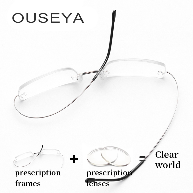 Титан очки без оправы Для мужчин модные Бизнес Титан очки Для мужчин аксессуары # CT001