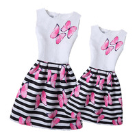 New Fashion 2017 Spring Mother Daughter Dress Girl Print Butterfly Dresses Girls Striped Clothing Family Matching