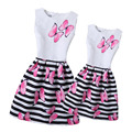 New Fashion 2017 Spring Mother Daughter Dress Girl Print Butterfly Dresses Girls Striped Clothing Family Matching Outfits Dress