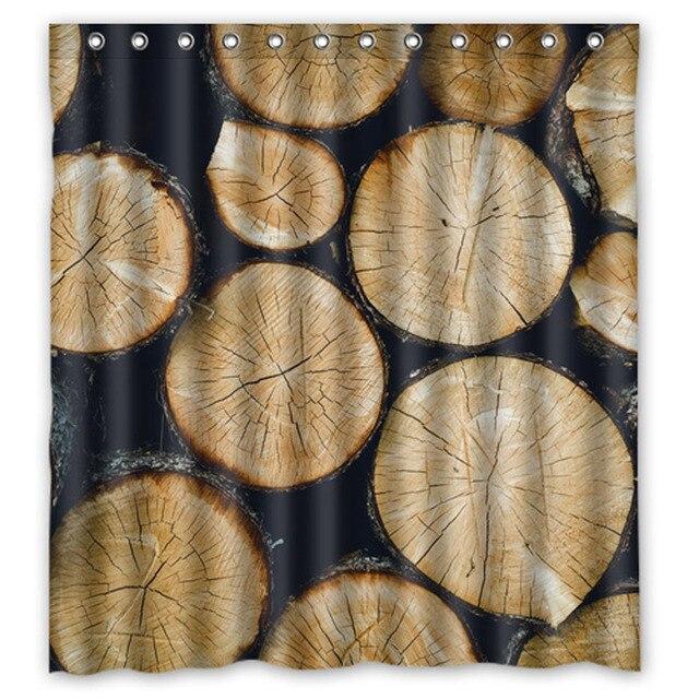 Texture Wooden Wood Custom Shower Curtains Design Creative Curtain Bathroom Waterproof Polyester Fabric