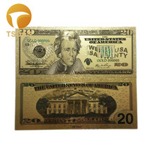 10Pcs/Set 24K Gold Plated Banknotes United Of America Foil Banknote 20 Dollars Collection Fake Money