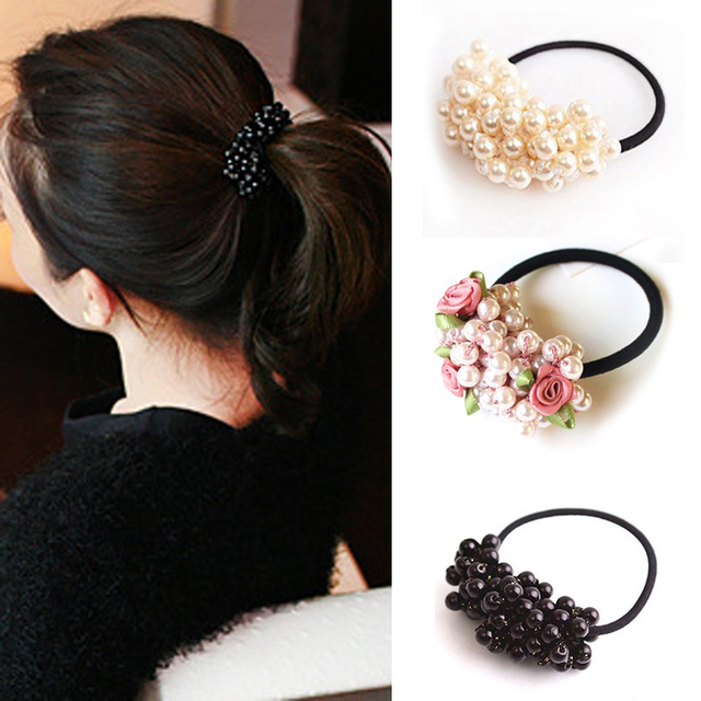 1pcs Pearl Elastic Rubber Bands Hair Ties Rings for Women Girls Hair  Accessories Ponytail Holder Elastic Hair Band Rope Headwear d1714a57a78