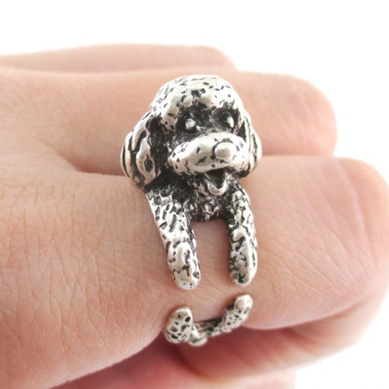OMENG 2017 1 Pcs free shipping Vintage Dachshund Dog jewerly Antique Silver / Antique Bronze Sausage Dog Ring JZ042