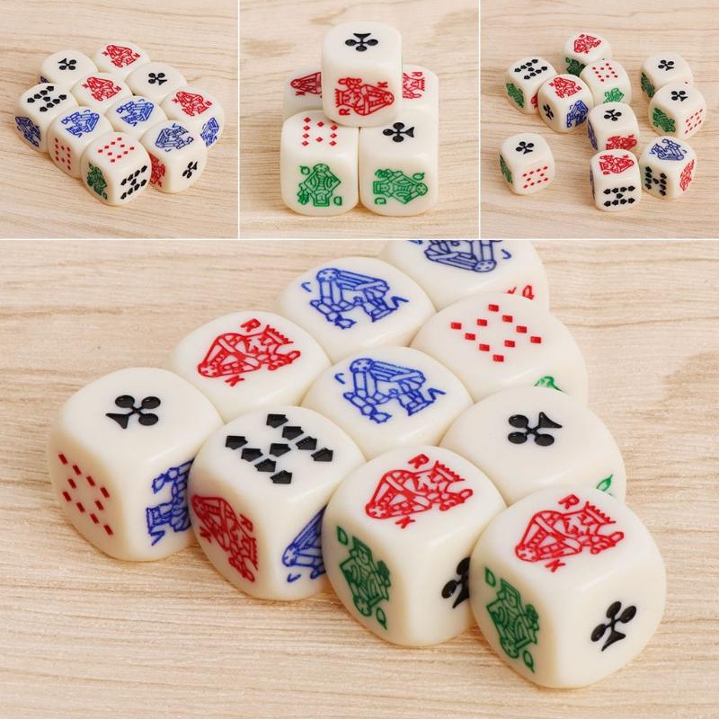 10pcs 16mm Multicolor Acrylic Cube Dice Beads Six Sides Portable Table Games Toy