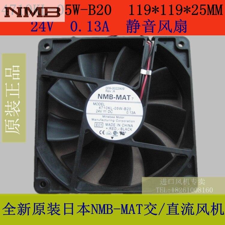 Original NMB fan 4710KL-05W-B20 119 * 119 * 25MM 24V silent fan original 2410ml 05w b39 6025 6cm 0 08a 24v inverter fan stall warning for nmb 60 60 25mm