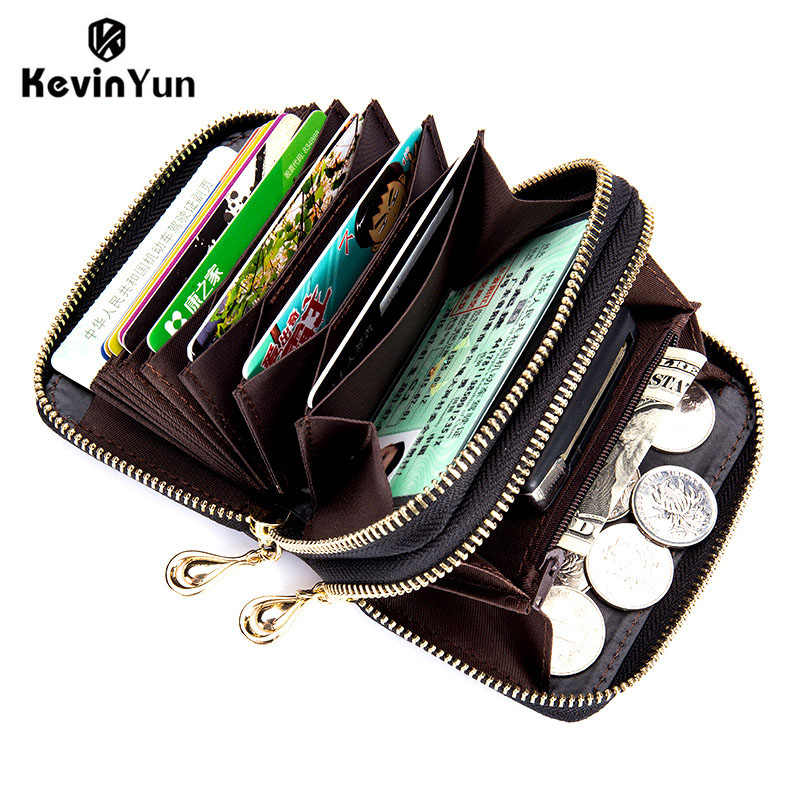 KEVIN YUN fashion women card holder genuine leather large capacity double zipper credit card case wallet with coin pocket purse