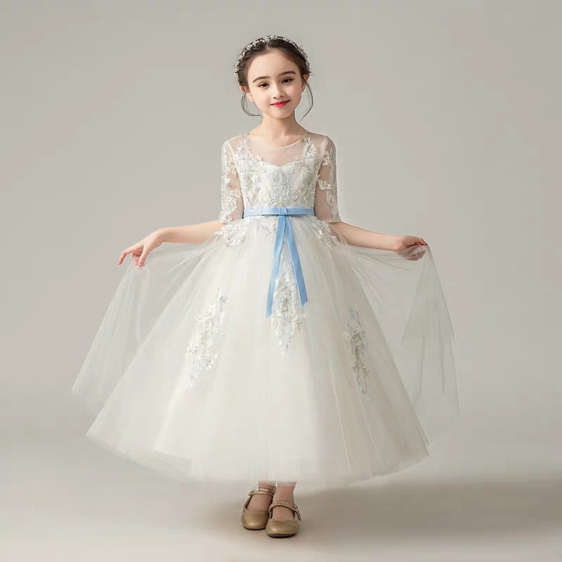 98c67d16857 Children Girls White Color Flowers Princess Wedding Birthday Summer Short  Sleeves Long Dress Teens Lace Ball Gown Dress with Bow