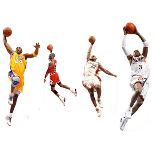 Calcomanías de pared deportivas de baloncesto estrella jugador ...