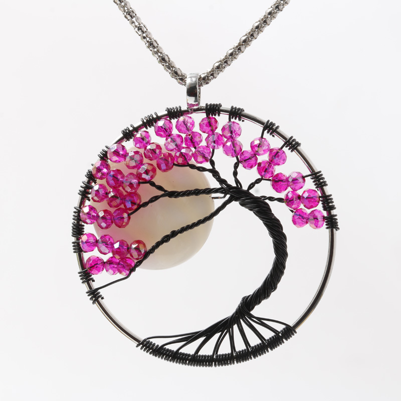 Tree of Life Natural stone crystal pendant necklace Family Tree Wire ...