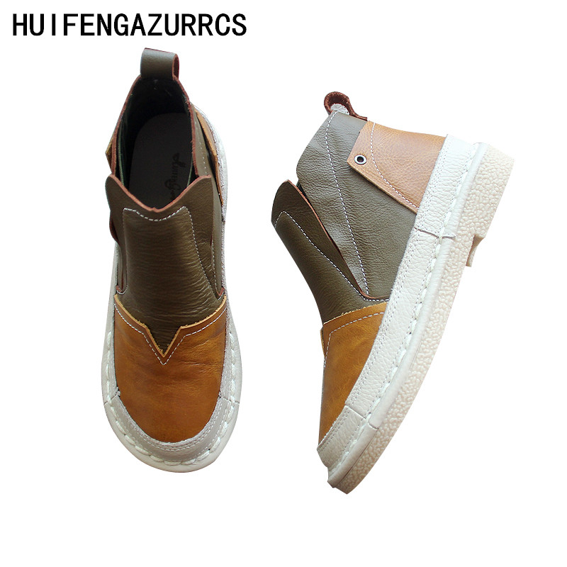 HUIFENGAZURRCS-The forest retro super soft bottom, short leather boots, women's shoes, round head hand-made casual boots,3 color