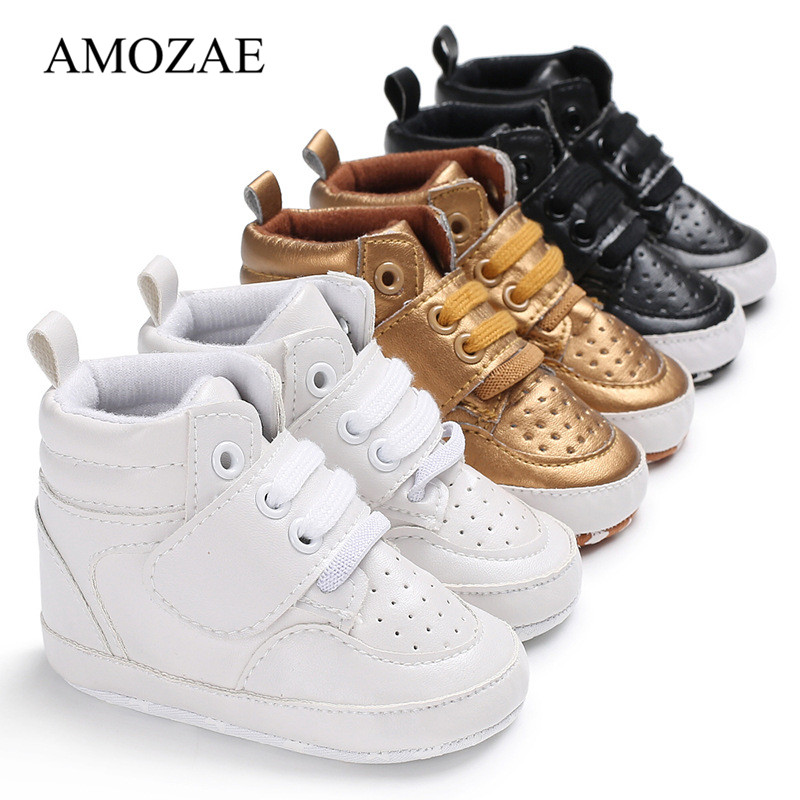 2019 New Newborn Baby Boy Girl Shoes Soft Sole Warm Boots Anti-slip Sneaker PU Breathable Solid First Walkers 0-18M