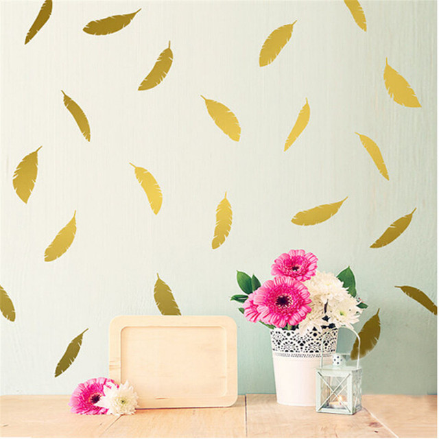 Feather Pattern Wall Sticker Art Home Decoration Removable Vinyl Wallpaper Kids Room Feathers Decal Decor